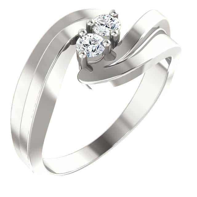 Sterling Silver Two Stone Diamond Forevermore Ring Wide Bipass 0.16ctw