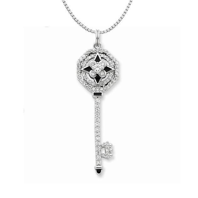 Sterling Silver Black Enamel CZ Octagon Key Necklace 18in