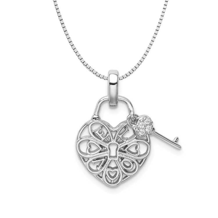 Sterling Silver Heart Lock & Key Love Heart CZ Necklace 18in