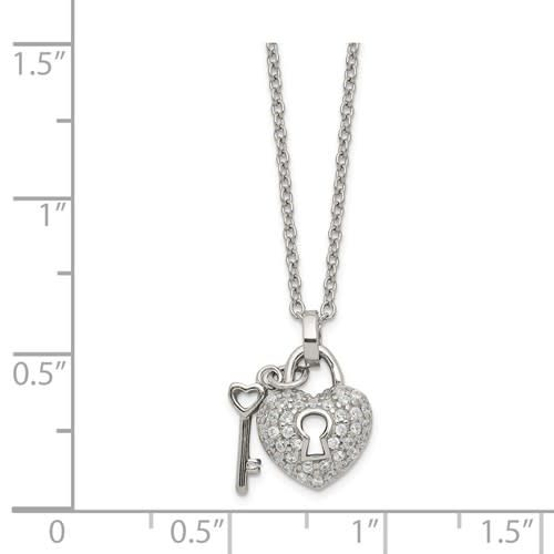 Quality Gold Sterling Silver Petite CZ Heart Lock & Key  w/2in. ext.Necklace