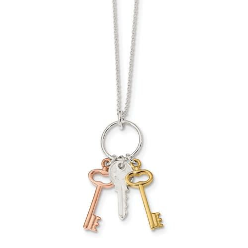 Sterling Silver Rose and Gold-tone Keys 16in Necklace
