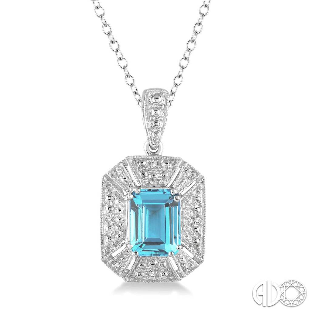 Ashi 8x6 mm Emerald Cut Blue Topaz and 1/30 Ctw Single Cut Diamond Pendant in Sterling Silver with Chain