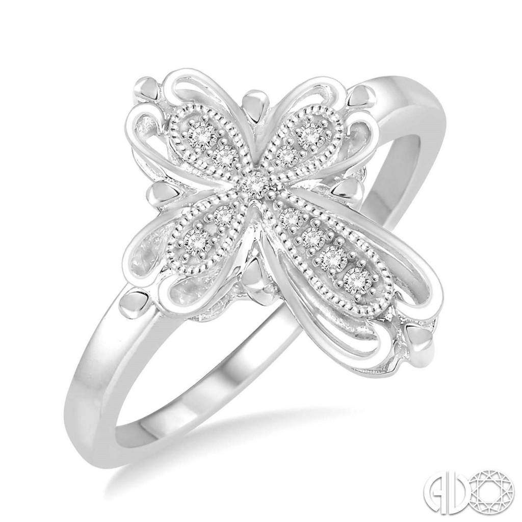 Sterling Silver and Diamond Cross RIng 0.05ctw