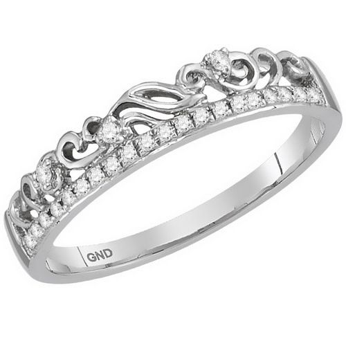 10kt White Gold and Diamond Stackable Crown fashion Ring 1/12ct Size 7