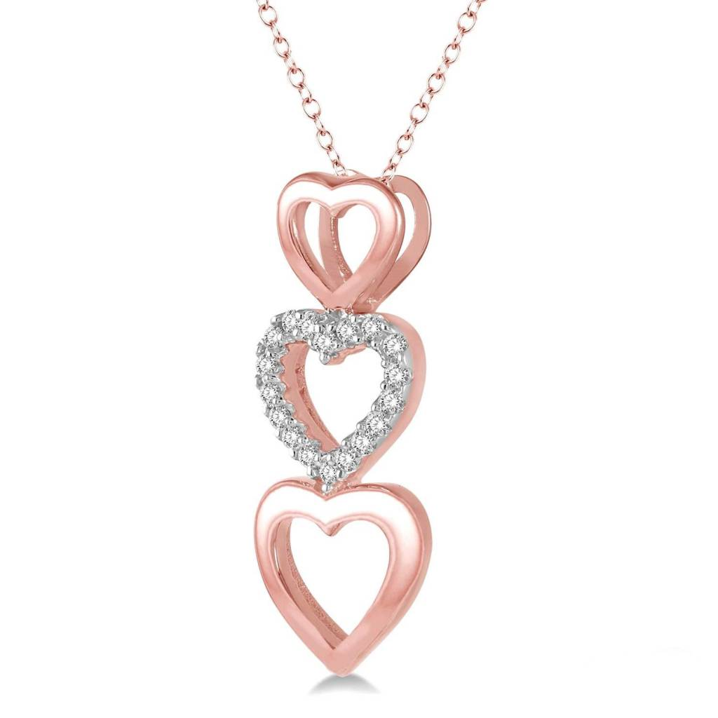 10K Rose Gold and Diamond Triple Heart Necklace 0.06ctw