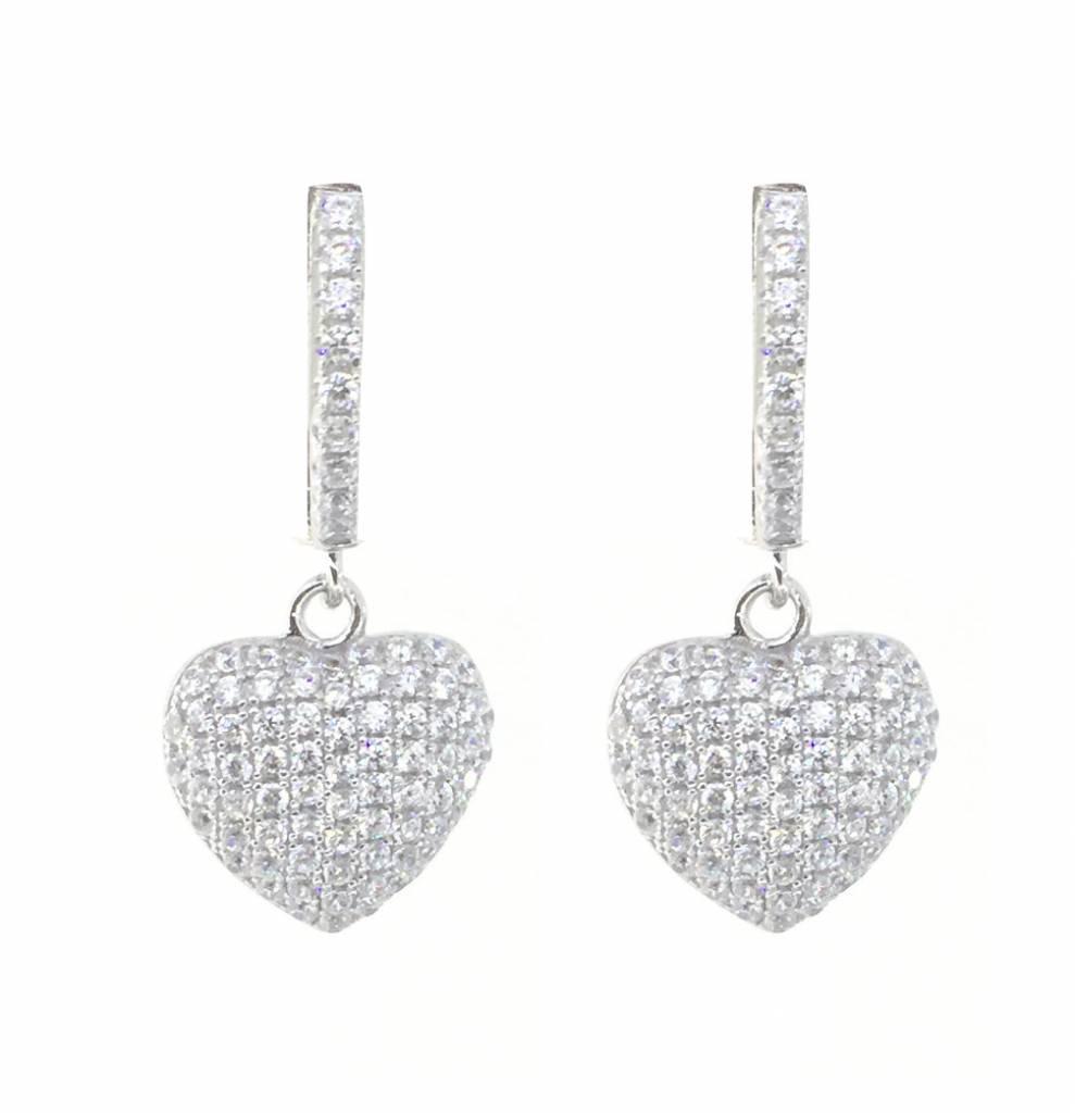 Sterling Silver Swarovski Crystal Puff Heart Dangle Earrings ... d5436b6916d5