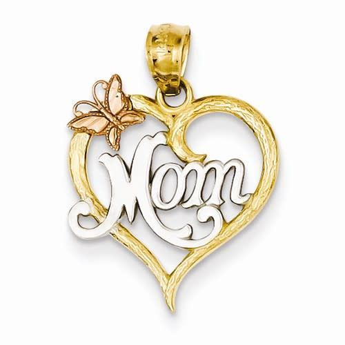 14k Two Tone and Rhodium Mom Heart Necklace Pendant