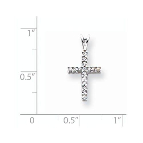 14K White Gold Prong Set Diamond Cross Necklace  0.16ctw