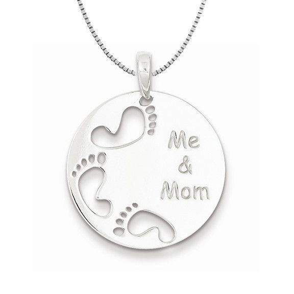 Sterling Silver Polished Light Weight Me & Mom Footprints Necklace Satin Finish