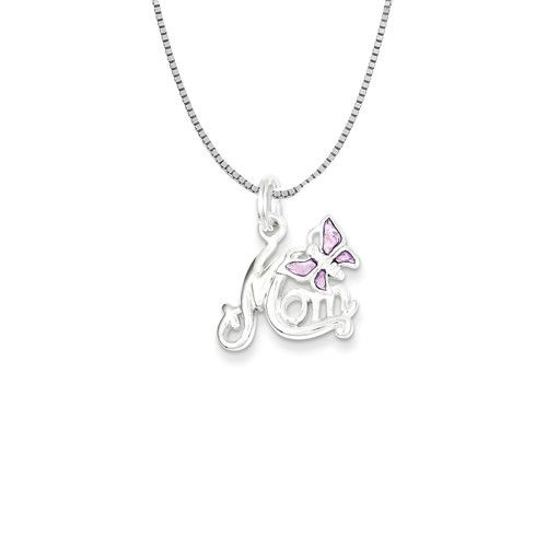 Sterling Silver Polished Mom Butterfly Enameled Necklace 18in