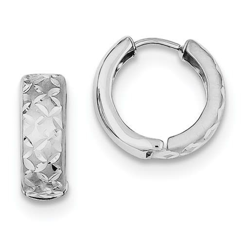 Sterling Silver Rhodium-plated Diamond Cut Hinged Hoop Earrings Huggie style