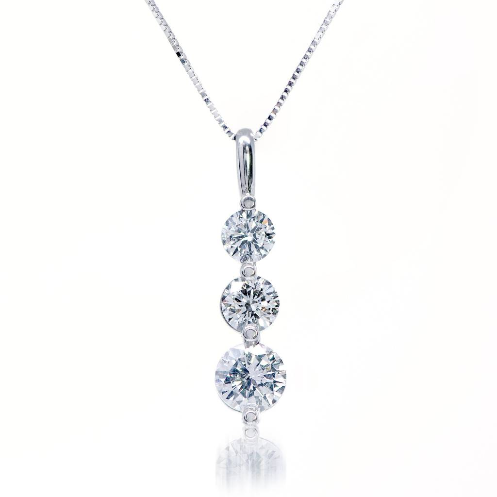 14K White Gold Three Round Brilliant Cut Diamond Shared Prong Necklace