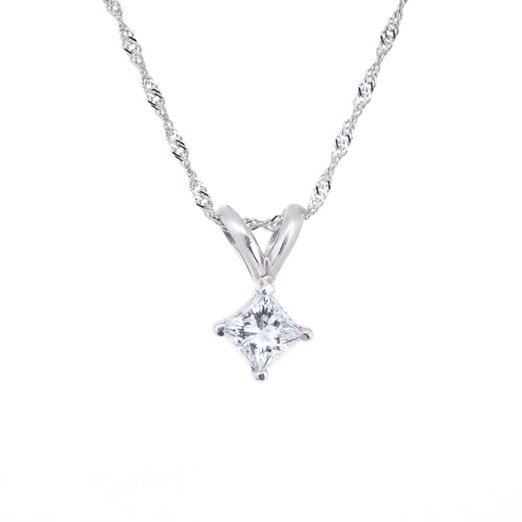 14K White Gold Princess Cut Diamond Pendant On 18in Chain 0.33ct