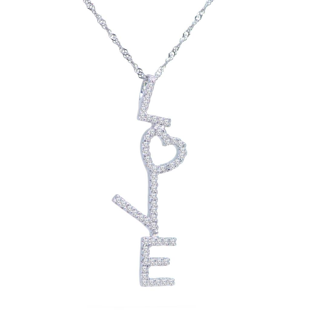 14K White Gold Diamond Topsy Turvy Love Necklace 0.18ct  on 18in Chain