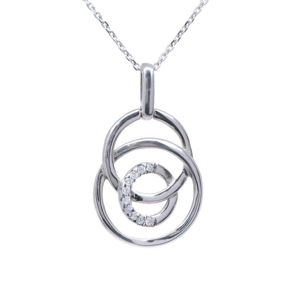 14K White Gold 3 Circle Diamond Necklace .06ctw 18in