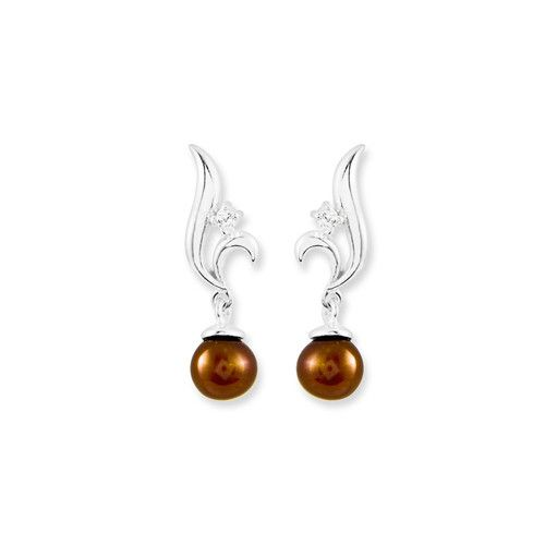 Sterling Silver Chocholate Dyed Pearl with Cz Drop Earrings