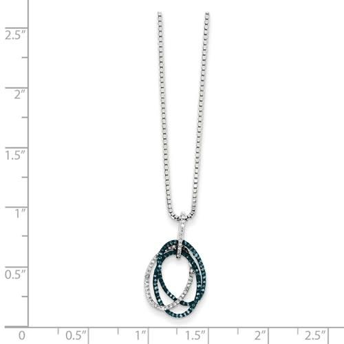 Sterling Silver Teal Blue and White Diamond Triple Oval Necklace