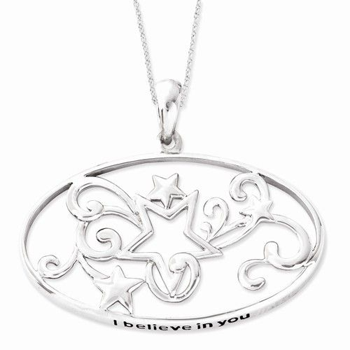 Sentimental Expressions Sterling Silver Antiqued I Believe In You 18in Star Necklace