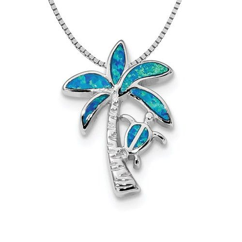Quality Gold Sterling Silver Blue Inlay Created Opal Palm Tree Slide on 18in Chain