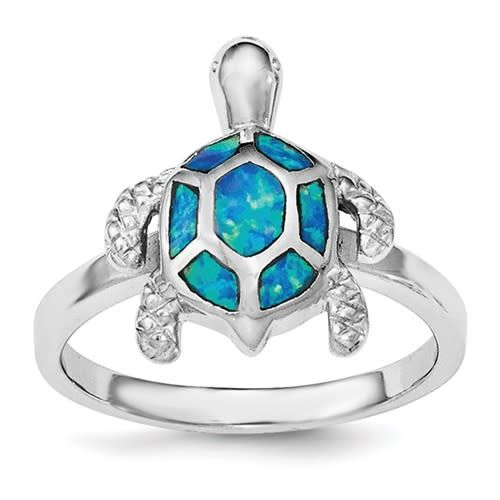 Quality Gold Sterling Silver Created Blue Opal Turtle Ring Size 7