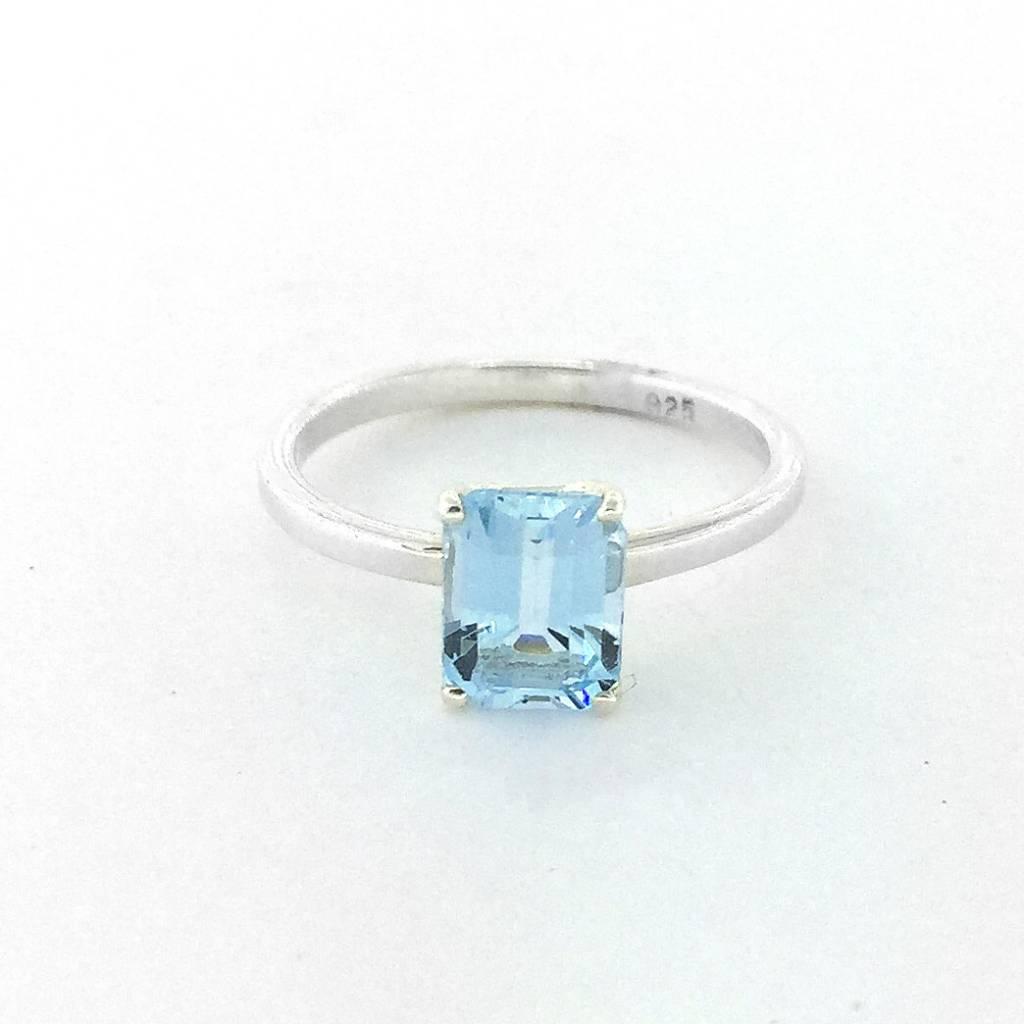 Sterling Silver Light Blue Topaz Emerald Cut Ring Size 6.5