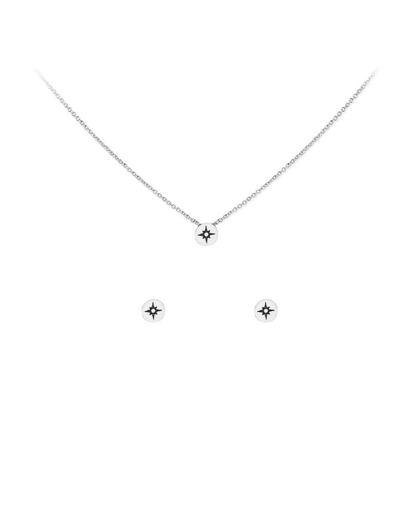 Kitsch Kitsch-Compass Silver Set of Necklace & Earrings