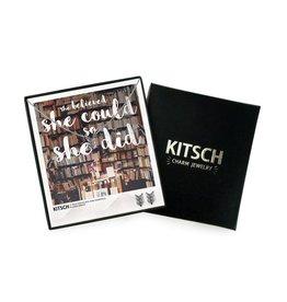 Kitsch Kitsch-Chevron Silver Set of Necklace & Earrings