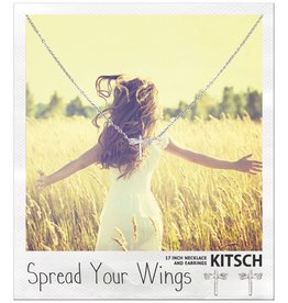 Kitsch Kitsch-Dragonfly Silver Set of Necklace & Earrings