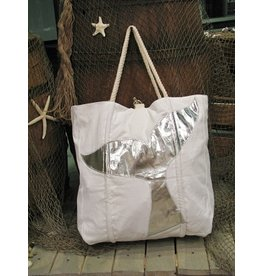 Tote w/Rope Handles-Whale Tail-Silver
