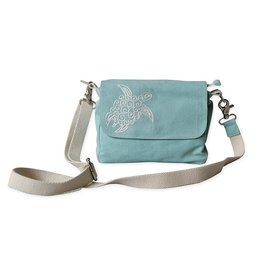 Crossbody Bag-Coastal Canvas w/Sea Turtle Embroidery