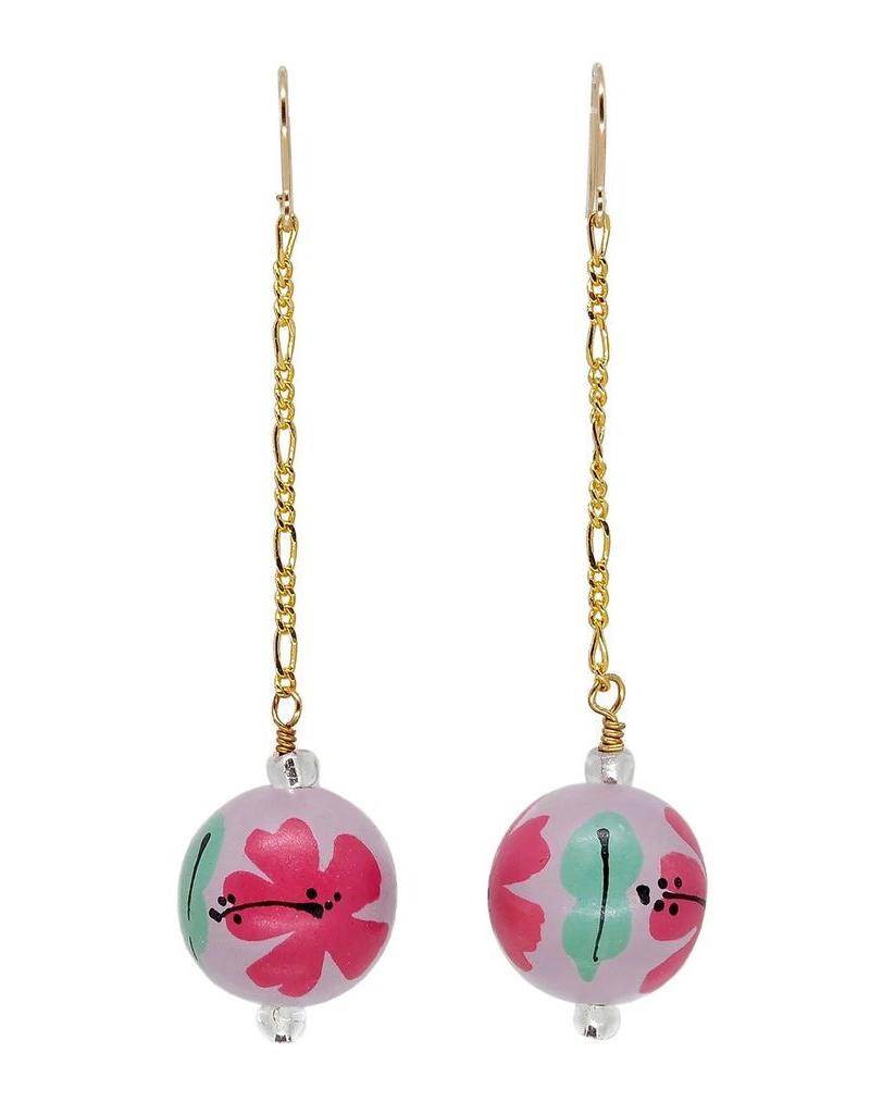 Binky & Lulu Earrings-Drop, HIbiscus