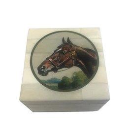 """White Bone Box 3.25""""-Print """"Brown Horse Head"""""""