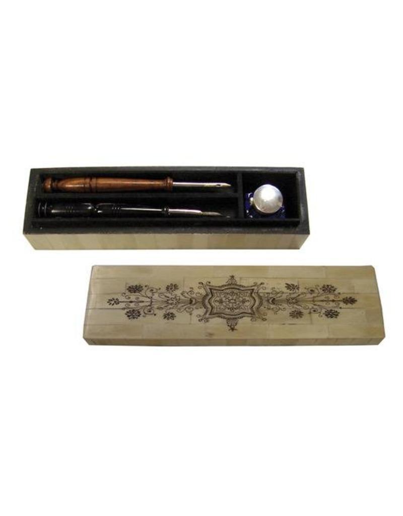 """Scrimshaw Bone Pen Box 10"""" - w/2 Pens & Inkwell"""
