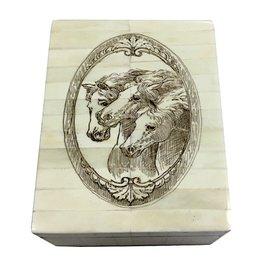 "Scrimshaw Bone Box 6.25"" -""Three Horses"""