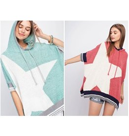 Easel Sweater-Oversized Knit Hoodie w/Star