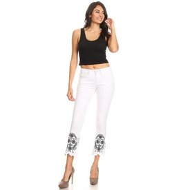 Jeans-Cropped, Flared Hems w/Floral Embroidery
