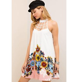 Entro Dress-Halter Neck Web Strap, Floral Border