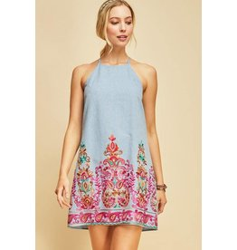 Entro Dress-High Neck, A-Line, Denim Look, Emb Front