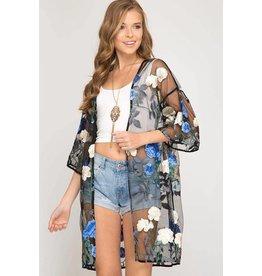 She & Sky Kimono-Mesh Floral Emb, Half Sleeve, One Size, Black/Blue