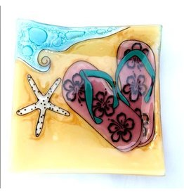 Pampeana Art Glass Plate Square (Small)-Flip Flops at the Beach