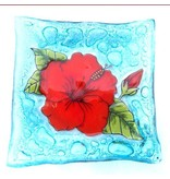 Pampeana Art Glass Plate Square (Small)-Hibiscas Flores