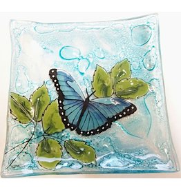 Pampeana Art Glass Plate Square (Small)-Blue Butterfly