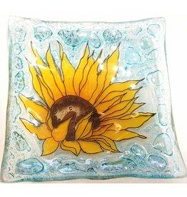 Pampeana Art Glass Plate Square (Small)-Sunflower