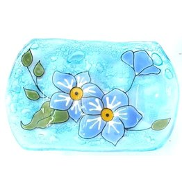 Pampeana Art Glass Glass Soap Dish-Forget Me Not Flowers