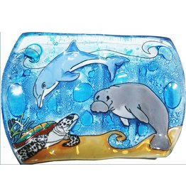Pampeana Art Glass Glass Soap Dish-Manatee, Dolphin, Sea Turtle