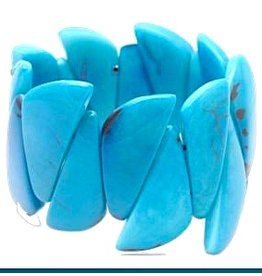 Pampeana Art Glass Bracelet, Tagua Nuts-Spike (AQUA)