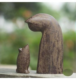 "My Spirit Garden Antiqued Volcanic Ash Cat & Mouse-""Antique Brown"""