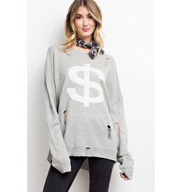 Easel Sweater-Distressed Loose Fit $ symbol