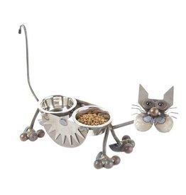 "Yardbirds Cat Feeder 4"" - Glass-Eyed Cat (Inc 2x Bowls)"