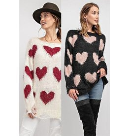 Fashiongo Sweater-Distressed Lou Lou, Mohair & Hearts,